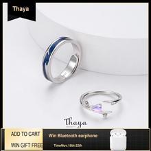 Thaya Anillos ajustables de amor caído para parejas, anillos cromáticos de plata 925 para mujer, regalo de compromiso