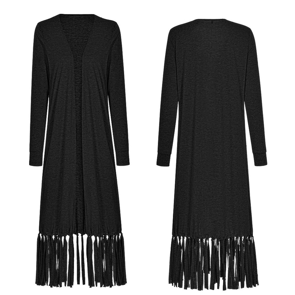 With Tassel Autumn Long Sleeve Fashion Street Daily Outwear Casual Open Front Loose Cotton Blend Women Coat Calf Length Solid