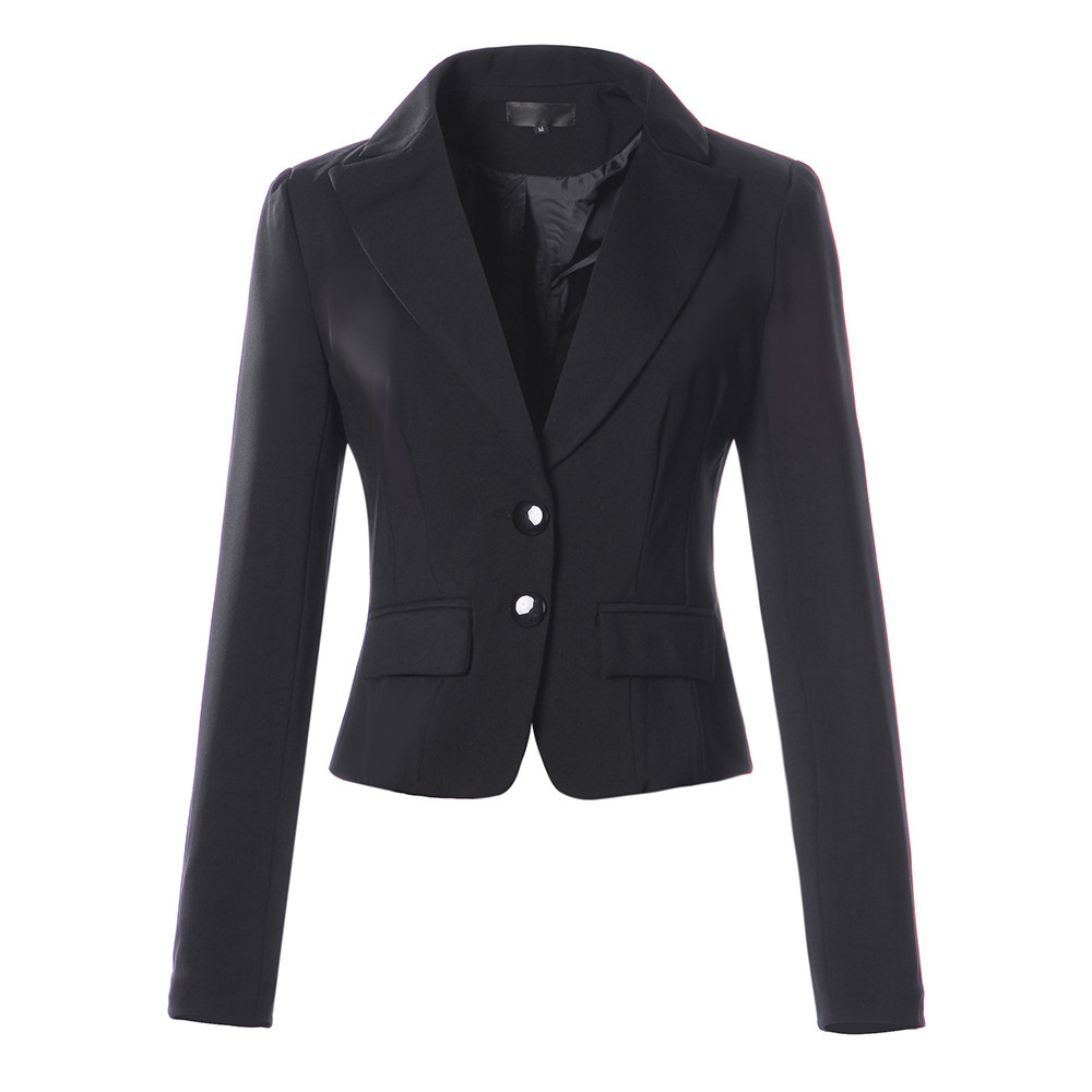 Office Ladies Suit Jacket Women Blazer Slim Fit Solid  Short Suit Women Two Button Pocket  D90726