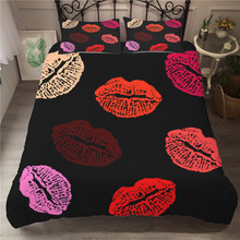 MEI Dream Red Lip 3d Bed Sheet Set Bedding Linen Luxury Quilts and Comforters Couple Bedsheet Setting Blankets Bedspreads