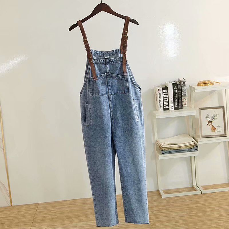 Women High Waist Boyfriend Denim Overalls For Women 2019 New Spring Loose Cotton Blue Ankle Length Jeans Plus Size