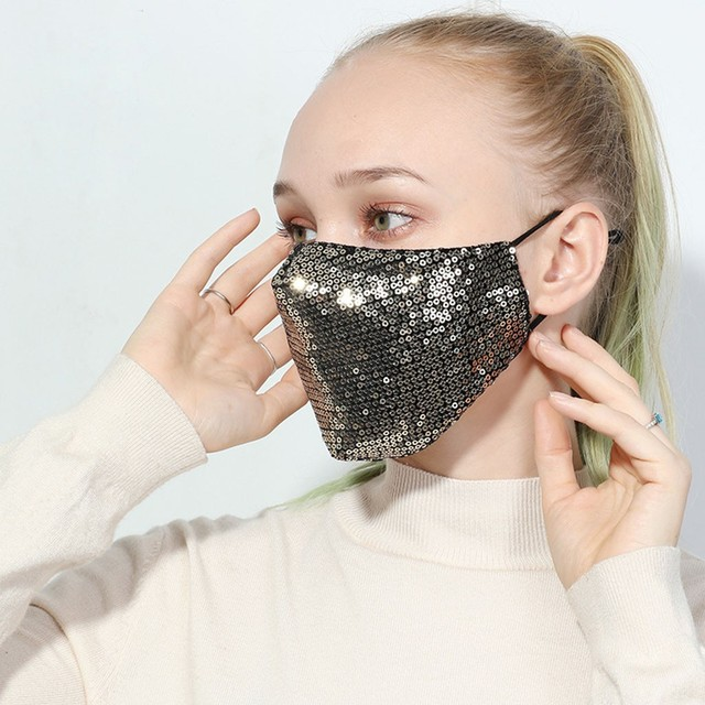 Black Sequins Mouth Mask Anti Dust Mask Windproof Mouth-muffle Bacteria Proof Flu Face Masks Washable Reuse PM2.5 Outdoor Mask 2