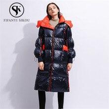 Высококачественный пуховик для женщин, модное длинное пальто с капюшоном, зимняя куртка, толстое теплое пальто, парка для женщин, белое пуховое пальто