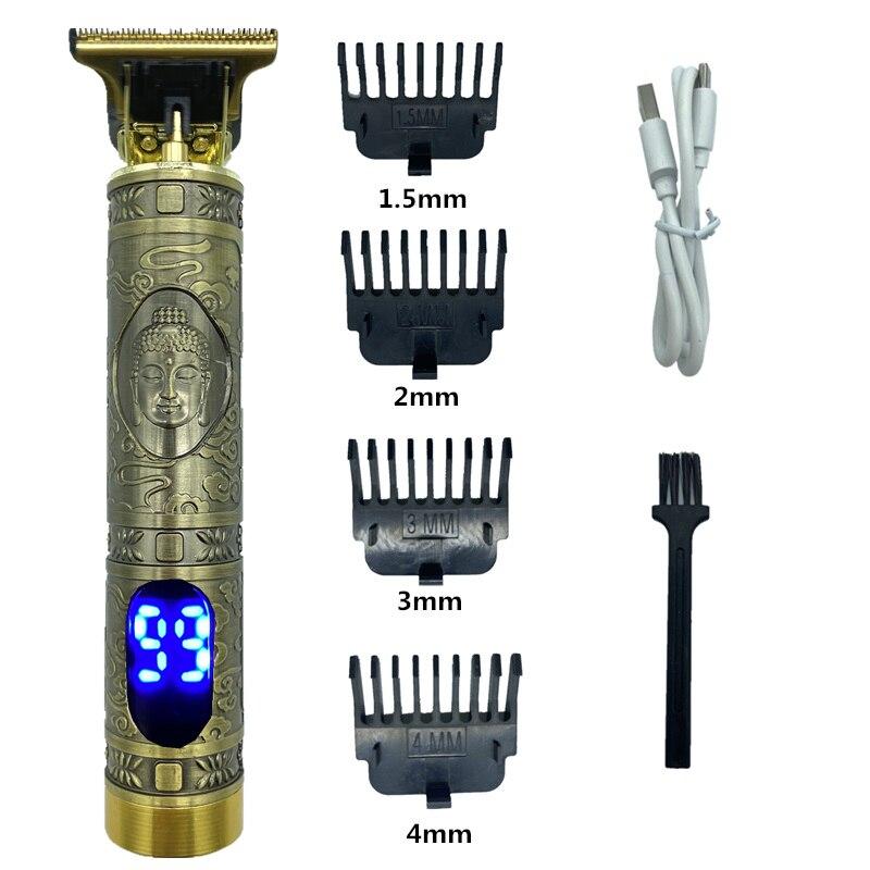 USB Перезаряжаемые T9 лысый машинка для стрижки волос, электрическая машинка для стрижки волос, аккумуляторная бритва триммер 0 мм Для мужчин ...