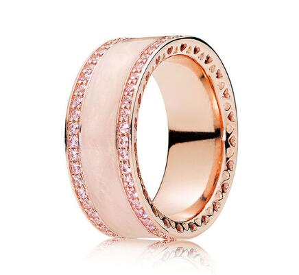 Оригинальный 925 Серебряное кольцо из розового золота розового сердца кольца с кристаллом для женщин свадебный подарок ювелирные изделия
