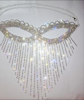 DJ dance mask Rhinestone Nightclub mask Shiny Tassel mask