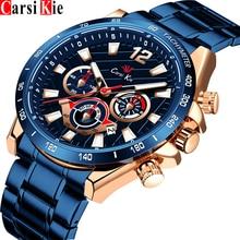 Carsikie luxo designer relógio de pulso para homem à prova dwaterproof água ouro original negócios relógios automático homem relógios de pulso mecânico