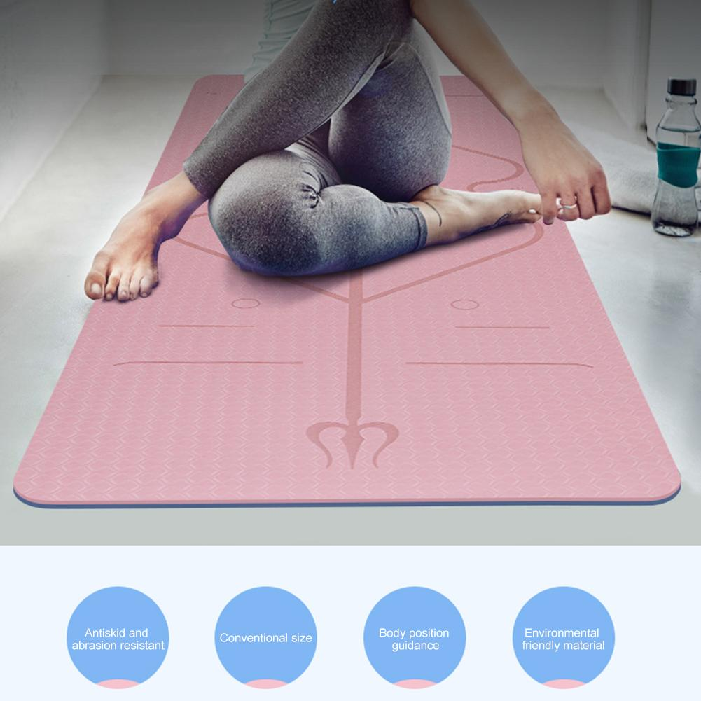 Non-Slip TPE Yoga Mat With Position Line 3