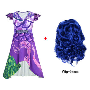 Descendants 3 Costume For Teen Girl Dress Halloween Carnival Disguise Evie Mal Kid Wig Cosplay Frock Festive Child Up Cloth 5 10(China)