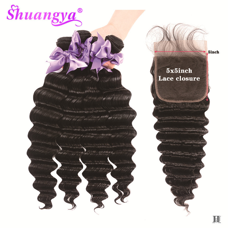 Loose Deep Wave Bundles With Closure 100% Remy Human Hair 3/4 Bundles With Closure 5x5 Closure With Bundles Indian Hair