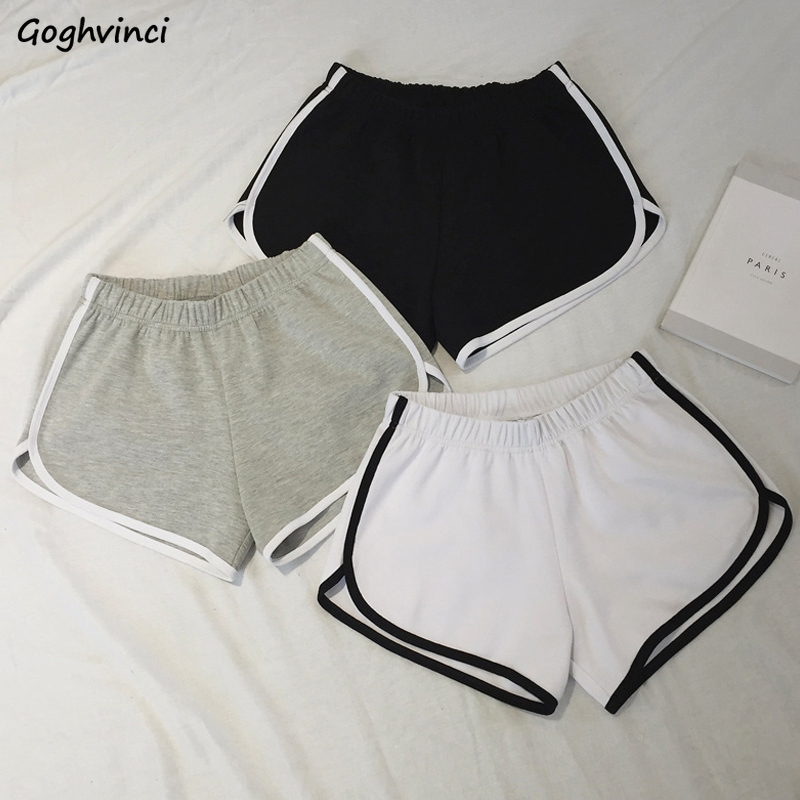Shorts Women Korean Style Casual Loose All-match Simple Striped High Waist Soft Comfortable Elastic Womens Short Ulzzang Trendy