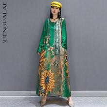 SHENGPLLAE – robe mi-mollet imprimée, tenue brodée, col rond, ample, manches longues, pour femmes, nouvelle collection été 2021