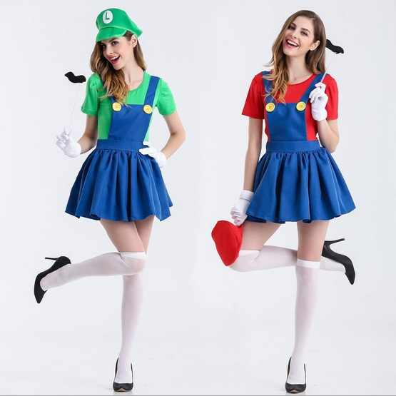 Super Plumber Bros Halloween Fancy Dress Womens Adult Mario and Luigi Costumes
