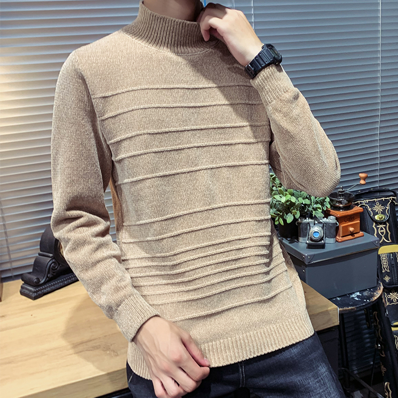 Sweater Male Turtleneck Pullover Streetwear Slim Sman Fashion Winter New Warm Solid