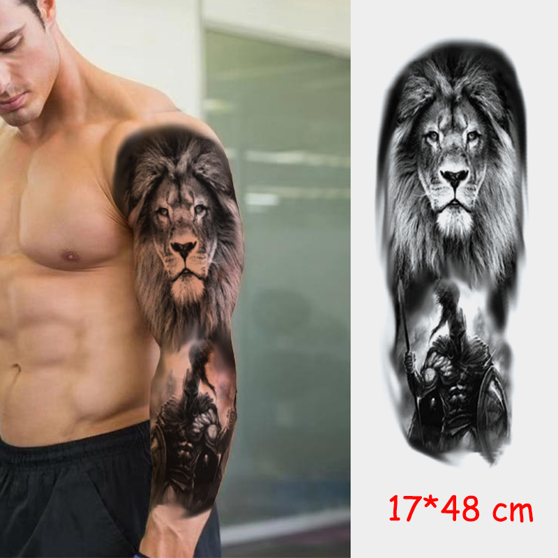 Waterproof Temporary Tattoo Sticker Lion Virgin Full Arm Color Fake Tatto Large Size Flash Tatoo Sleeve Tattoos To Men Women