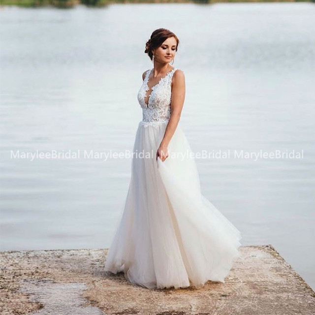 Фото 2021 трапециевидное пляжное свадебное платья летнее платье в