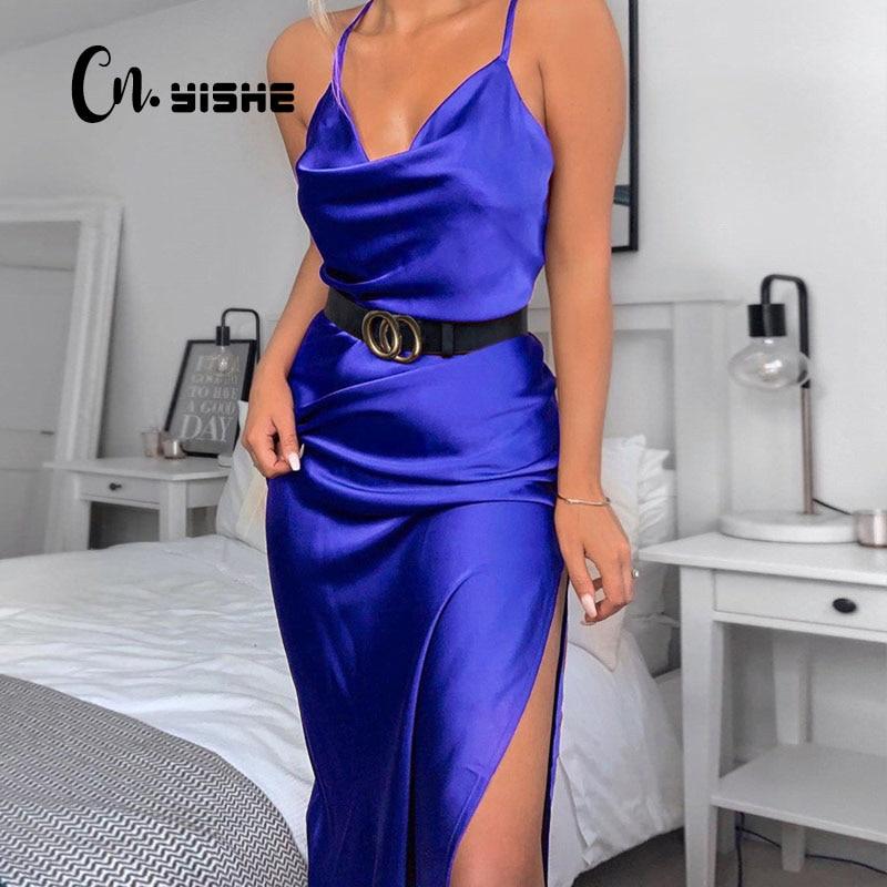 CNYISHE Casual Midi Spaghetti Strap Party Dress Women Fashion High Split Sexy Slim Dresses Female Vestidos Streetwear Outfits