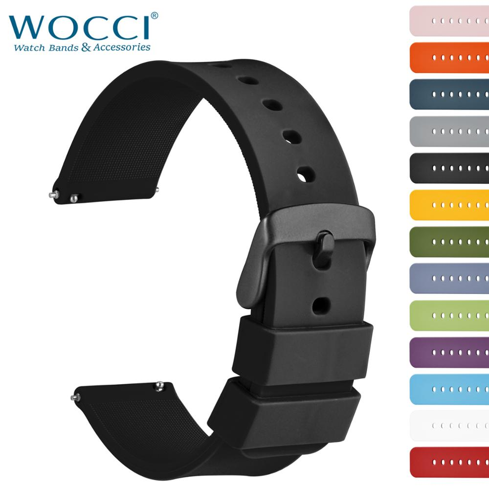 WOCCI Watchband 14mm 18mm 20mm 22mm 24mm Silicone Sport Watches Strap Men Women Replecement Band Bracelet Stainless Black Buckle