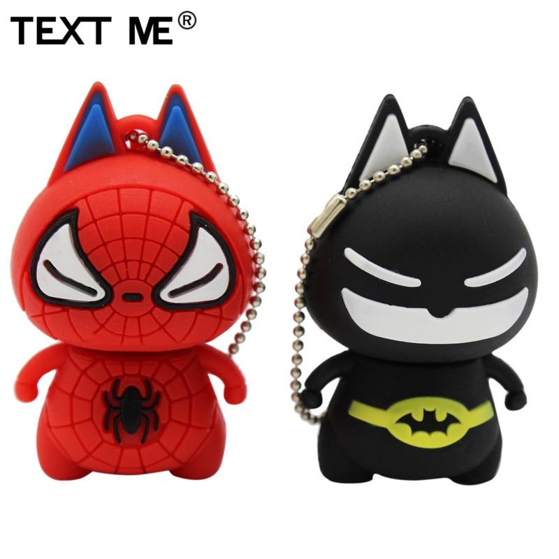 TEXT ME Cartoon Batman Spiderman Model Usb Flash Drive Usb 2.0 4GB 8GB 16GB 32GB 64GB Pen Drive
