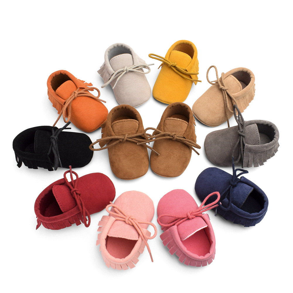 Newborn Baby Moccasins Soft Soled Non-slip Footwear With Fringe Toddler Baby Girl First Walkers Infant Crib Shoes PU Suede Shoes