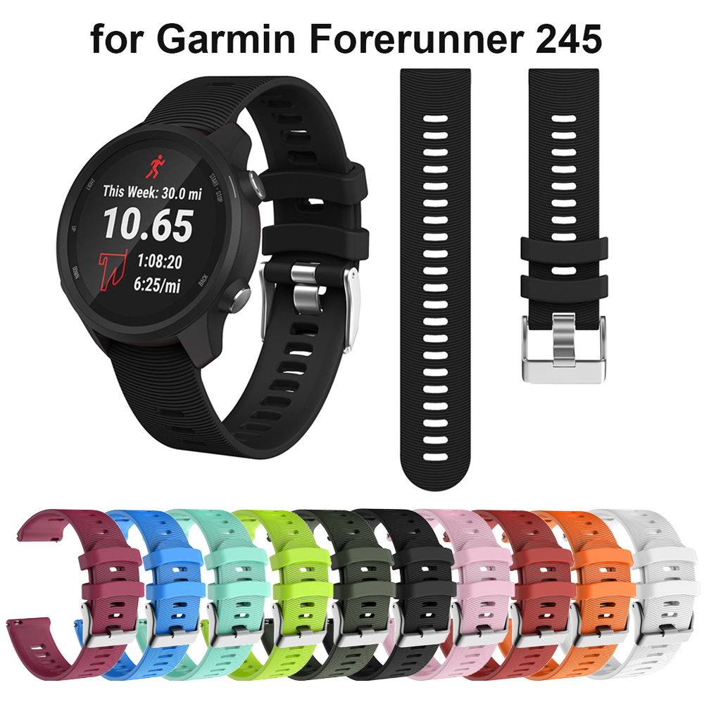 20MM Silicone Strap Watchband For Garmin Forerunner 245 245M 645 Vivoactive3 Smart Wristband Colorful Replacement Bracelet Band