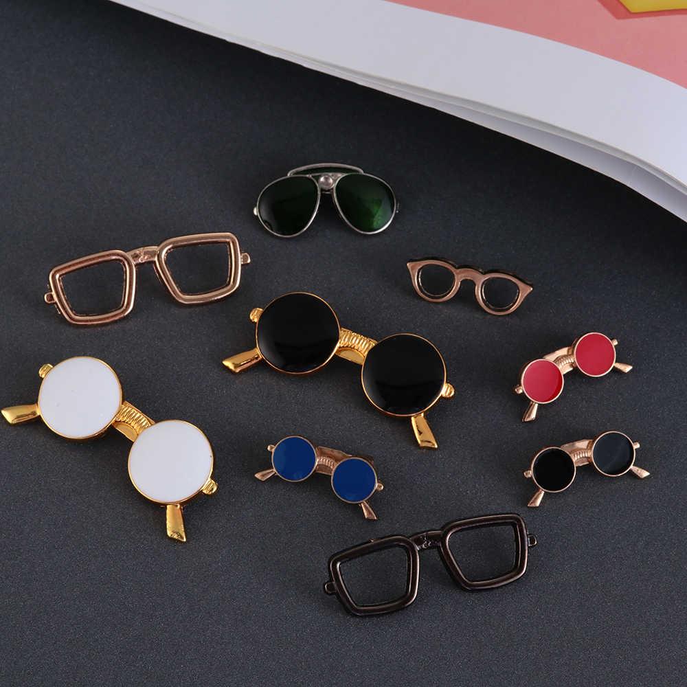 Fashion Cute Enamel Minyak Kacamata Kacamata Pins Lencana dan Bros Pria Perapi Kemeja Kerah Pria Pakaian Aksesoris