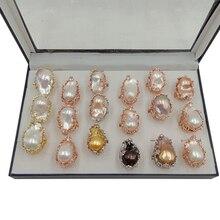 100% naturalny pierścionek z perłą słodkowodną, duży barokowy pierścionek z perłą. Perła 20x30mm