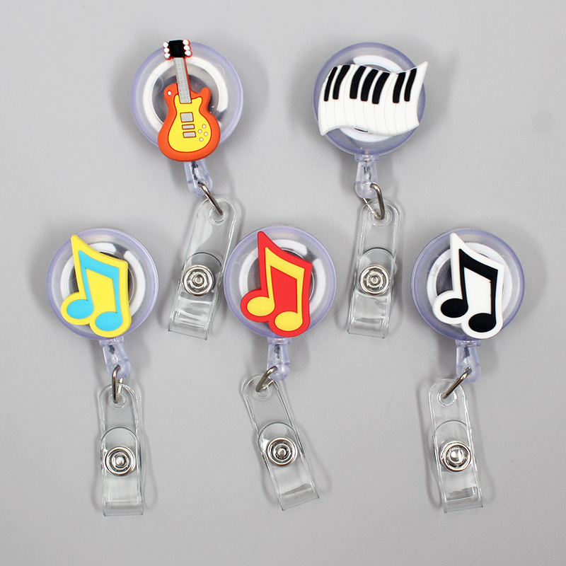 Creative Guitar Note Retractable Badge Holder Reel Exhibition Enfermera Student Music Boys Name Cards Hospital Office Chest Card