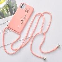 Nome personalizzato per iPhone 12 Pro Max 7 8 Plus X XR XS 11 custodia per telefono con cinturino SE 2020 Coque regalo per ragazze morbido Silicone Funda fai da te