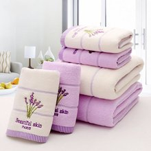 Purple Lavender Embroidered Towels High Quality Cotton Large Bath Towel Soft Absorbent Beach Face Towel Set for Women cheap Plain Woven Rectangle 390g 0106 Compressed 15s-20s Floral 100 Cotton PRINTED puple white