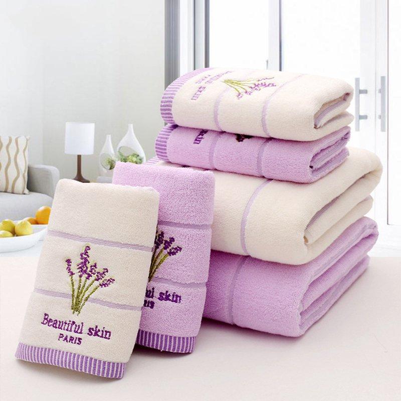Violet lavande brodé serviettes haute qualité coton grande serviette de bain doux absorbant plage visage serviette ensemble pour les femmes