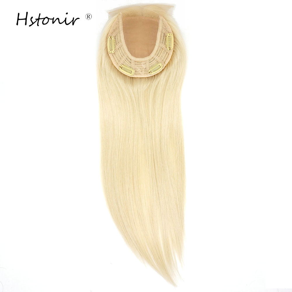 Hstonir Lace Front Jewish Topper Clip European Remy Hair For Women Silk Top Hairpiece Blond 613# Kosher TP32