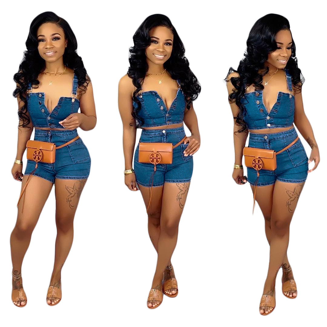 2019 Women Blue Jeans Tracksuit Casual Denim Outfit Jumpsuit Romper 2 Piece Set Blue Top + Super Shorts Women Denim Button Women