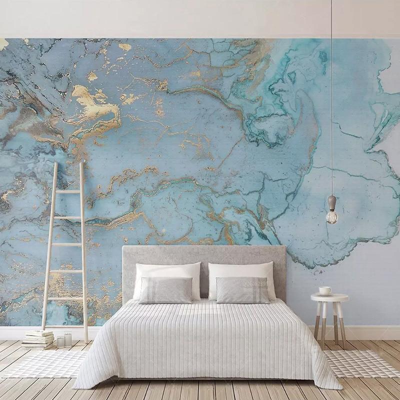Custom Mural Wallpaper 3D Blue Marble Texture Map Photo Wall Mural Living Room Study Self-Adhesive Waterproof 3D Wall Stickers