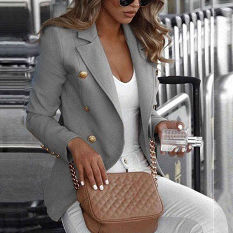 Più il Formato Delle Donne Office Lady Giacche di Colore Solido Manica Lunga Bottone della Giacca Sportiva Set di Lavoro Bottoni Top Coat Autunno Outwear Suit