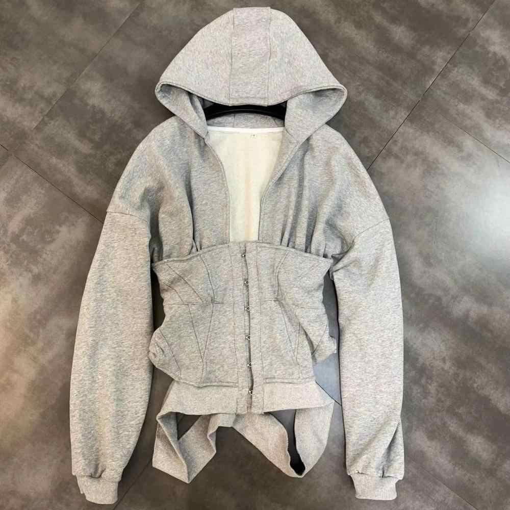 Herbst Zip hoodie frauen Sweatshirt Schlank grau korsett mode sport Workout gym baumwolle jacke schnalle bluse pullover