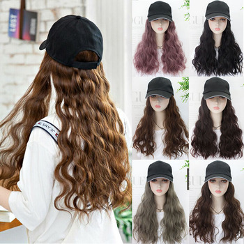 DIANQI 22 inch Baseball cap long synthetic hair wig natural wigs  wave naturally connect adjustable hat for girl party
