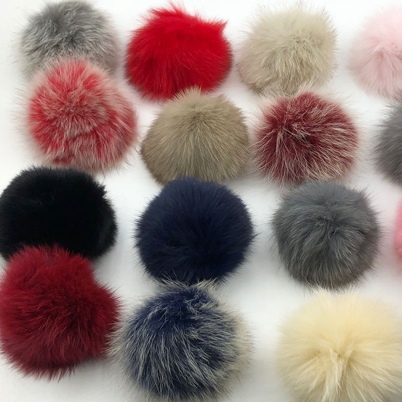 15cm Round Fluffy 100% Real Raccoon Fur Pompoms For Handbags Keychains And Knitted Beanie Cap Hats  Genuine Fur  Ompon Pom Pom