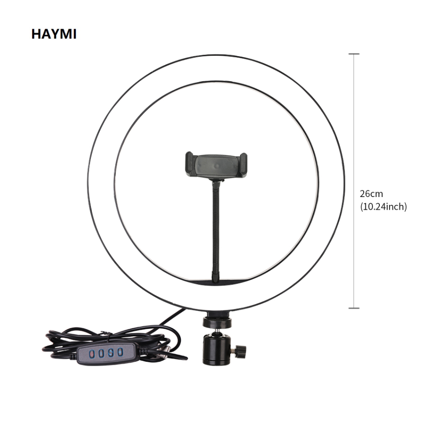 Photography 10 Inch/26 cm Dimmable LED Light Ring Light Youtube/Facebook Live Video Studio Make Up Light with Table Tripod image