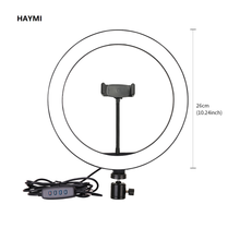 Photography 10Inch/26cm  Dimmable LED Light Ring Light Youtube/Facebook Live Video  Photo Studio Make Up Light with Table Tripod dimmable diva 12 60w led studio ring light beauty make up selfie video photo
