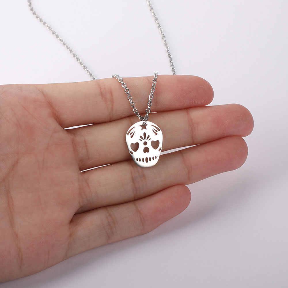 AAAAA качество 100% нержавеющая сталь Череп Очаровательное ожерелье для женщин никогда не ювелирные изделия tarnish ожерелье Специальный подарок высокое качество