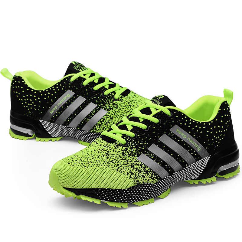 Yeni nefes koşu ayakkabıları moda büyük boy 35 ~ 46 spor ayakkabı popüler gündelik erkek ayakkabısı rahat su geçirmez masaj