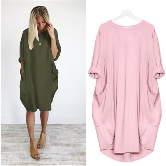 Casual Loose Dress With Pocket Women's Spring Summer Fashion Solid Color O-Neck Long Sleeve White Dresses Big Size S-5XL 1