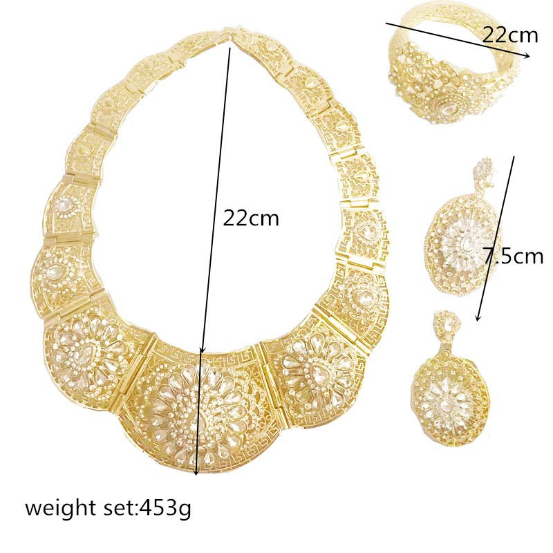 Vintage wedding jewelry set silver color crystal necklace for women Arab Muslim dress jewelry l five-piece set of jewelry sets Women Women's Accessories f02846ee759da375bf7e2a: Gold silver white