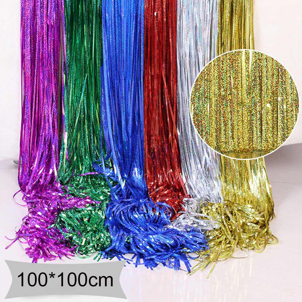 Telón de fondo de fiesta de 100x100cm, cortina de papel de aluminio metálico con brillo dorado, cortina de oropel, Decoración de cumpleaños, boda, foto, aniversario adulto D