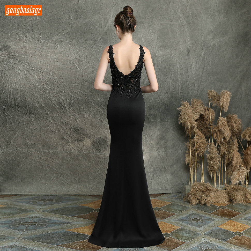 Sexy Dark Navy Long Evening Dresses V Neck Lace Appliqued Beaded Mermaid Formal Dress Women Party Slim fit Pageant Evening Gowns - 6