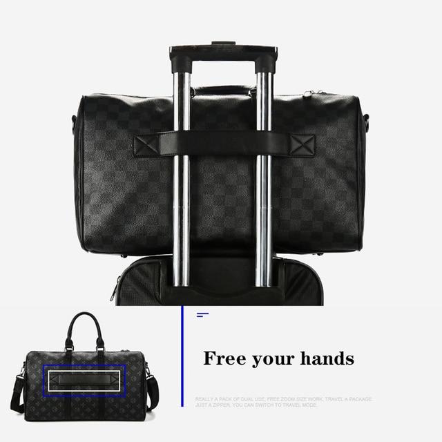 Fashion Travel Bag Men Women Classic PU Leather Luggage Bags Large Capacity Handbags Trip Shoulder Bags Black Plaid Bag Male Hot 6