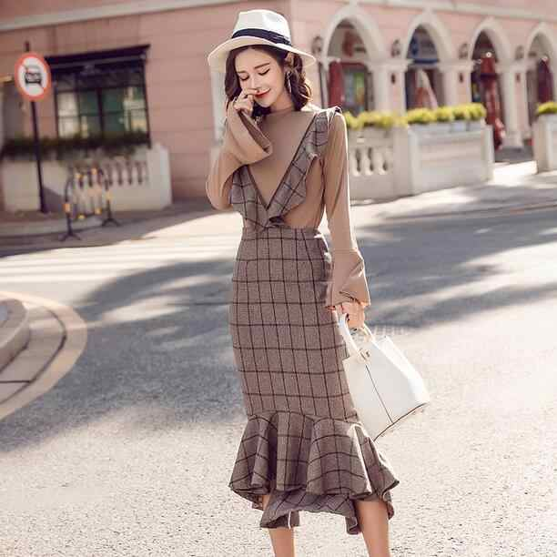 2020 Spring HIGH QUALITY Newest Runway Women's Flare Sleeve Tops+2 piece set women Plaid fish tail Dress DC843