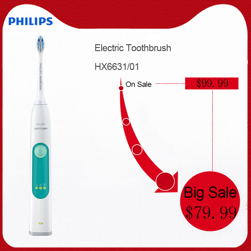 PHILIPS HX6631/01 Sonic Electric Toothbrush Convenient Snap-in Brush Head Waterproof Slim Ergonomic Rechargeable for Adult image