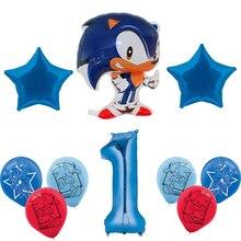 10 pçs sonic balões hedgehog balão 1st decorações da festa de aniversário 32 polegada número ballon festa suprimentos brinquedos para crianças globos